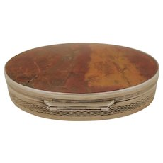 Sterling Silver and Agate Oval Snuff Box