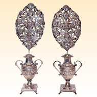 Impressive Pair of Silver Flower Bouquets, 19th Century Napes