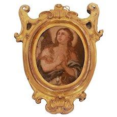 Miniature Oil on Tin Painting, Praying Virgin, 19th Century Naples