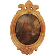 """Miniature Painting of """"Saint John of the Cross"""" on Tin with a Metal Frame, 19th Century Naples"""