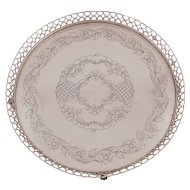 Silver Footed Round Tray with Gallery Rim, Topazio Portugal