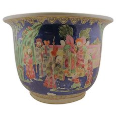 Large Chinese  planter pot with base plate