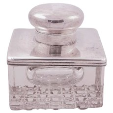 Antique Heavy Crystal inkwell with sterling  silver cap