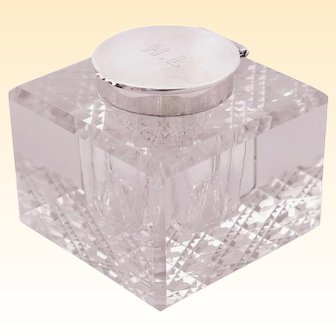 Antique crystal Inkwell with sterling Silver cap