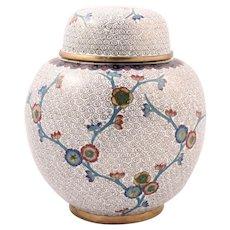 White floral jar