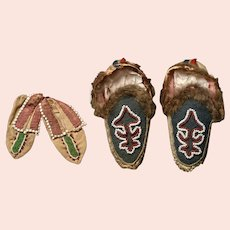 Iroquois Childs Moccasins, Two Pairs