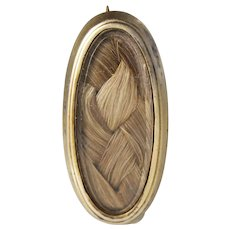 Gold Plated Oval Mourning Hair Brooch