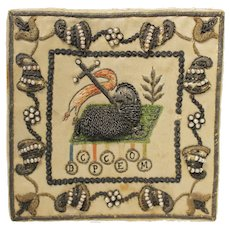Antique, Embroidered, Jesus Lamb of God, Copper thread and pearls on silk B.C.P.C.E.O.M.