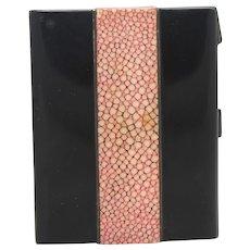 Art Deco Card Case, Black Laquer and Shagreen
