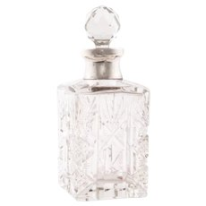 Perfume Bottle, Crystal and Sterling Silver