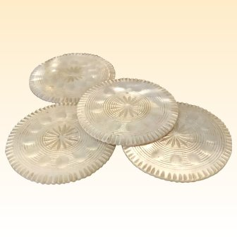 Round Mother Of Pearl Antique Chinese Game Counter (4pcs)