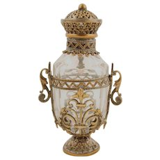 Perfume Bottle covered in Metal, with stopper. France 17th Century