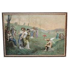 "19th Century Oil Painting ""Cupid and His Admireres"" by Jean Ernest Aubert"