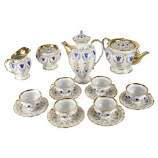 19th Century Porcelain Tea & Coffee Service for Six by K.P.M.