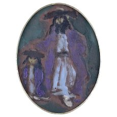 Expressionist Oil Painting of a Hasid and Son by Emmanuel Mané-Katz.