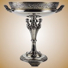 19th Century Parcel-Gilt Sterling Silver Centerpiece Tazza by Gorham
