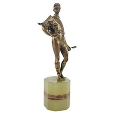 Continental Gilt Bronze Jockey Sculpture on Marble Base, Signed. c.1920