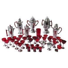 41-Piece Midcentury Industrialist Barware Service, Cranberry Glass & Chrome