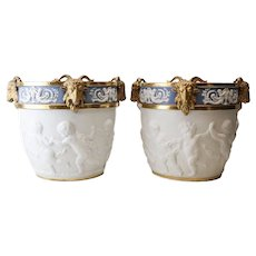 Large Pair of Sevres French Porcelain Cache Pots Hand Chased Cherub 19th Century