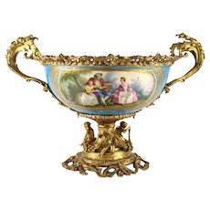 Sevres French Porcelain Centerpiece Bowl Hand Painted Figural Late 19th Century