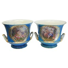 Pair Sevres France Hand Painted Double Handled Planters / Wine Coolers, 19th C.