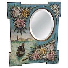 Large Antique Venetian Micromosaic Hanging Wall Mirror,