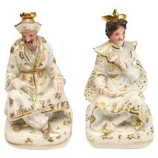 Pair Chelsea Figural Porcelain Perfume Bottles Chinoiserie 19th C. Jacob Petit