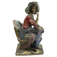 Isaac Maimon (Israel 20th Century) Cold Painted Bronze Sculpture Seated Woman