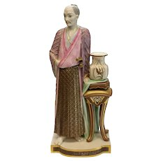 Rare Royal Worcester Porcelain Robed Japanese Man Figure by James Hadley