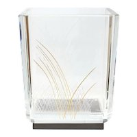 Baccarat Cut Glass Vase by Kenzo Takada, Signed. Edo Collection