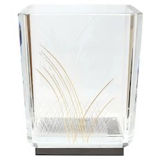 Baccarat Cut Glass Vase by Kenzo Takada, Signed. Edo Collection