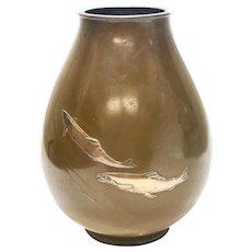 Japanese Patinated Bronze Silver & Copper Fish Vase by Ryubundo Zo