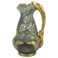 Amphora Austria Gris Bijoux Jeweled Salamander Handle Ewer, circa 1900
