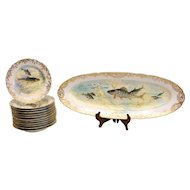 Dresden Ambrosius Lamm Porcelain Hand Painted Fish Service for 12
