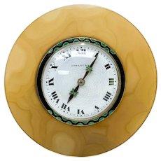 Tiffany & Co. 18k Gold Agate  Enamel Diamond & Sterling Silver Art Deco Clock