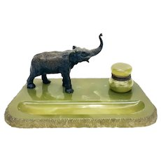 Continental Green Onyx and Austrian Bronze Elephant Inkwell Writing Stand circa 1900