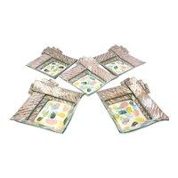 5 Carol McNicoll Glazed Pottery Square Bowls, 20th Century