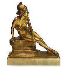 Walter Schulze-Thewis (German 19th C) Gilt Bronze Sculpture, Athena, circa 1900