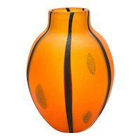 Large Murano Cenedese Vetri Italian Art Glass Orange and Feathered Vase, c1970