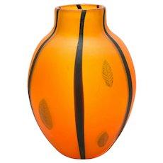 Large Murano Cenedese Vetri Italian Art Glass Orange and Feathered Vase, c1970
