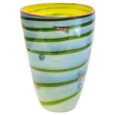Contemporary Studio Art Glass Millefiori Blue, Gold Fleck Vase, Signed. 2001