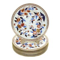 9 Royal Worcester Hand Painted Porcelain Dessert Plates, 1884.