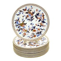 12 Royal Worcester Hand Painted Porcelain Dinner Plates, 1884.