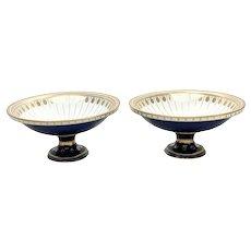 Pair Manufacture De Sevres France Porcelain Cobalt & Gilt Footed Bowls, 1849