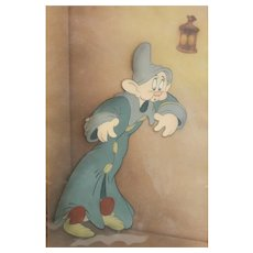 Walt Disney Snow White Animation Courvoisier Cel - Dopey Dancing on Sneezy