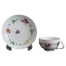 Meissen Marcolini Hand Painted Porcelain Cup & Saucer, circa 1800. Floral Designs