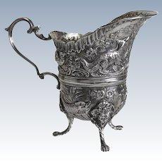 Extraordinary Simon Rosenau German 800 Silver Footed Milk Jug Creamer, 19th Century