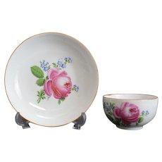 Meissen Marcolini Porcelain Cup & Saucer, 1814. Floral Designs