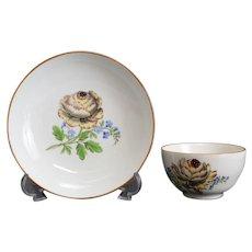 Meissen Marcolini Porcelain Cup & Saucer, circa 1800. Floral Designs
