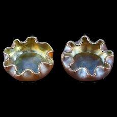 Pair L.C. Tiffany Favrile Gold Iridescent Art Glass Salt Cellars, circa v1900 Signed